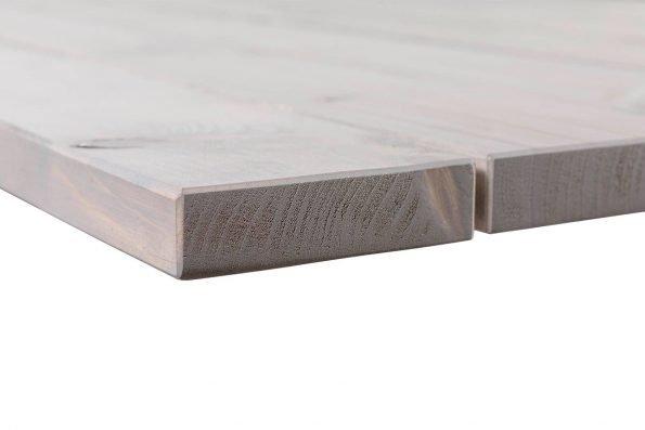 Detailfoto der Äußeren Tischplattenbohle und der Maserung am Tisch Disselfink